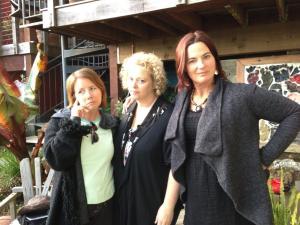 The Saundras in chronological order: Christine Garofoli, Mary Jo Price, and Me
